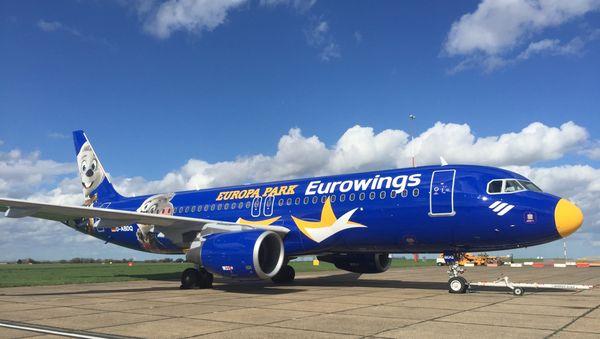 Der Eurowings-Flieger im Europa-Park-Look. Bild: Europa-Park