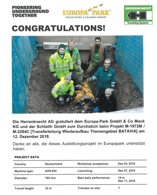 """Urkunde zum erfolgreichen """"Durchstich"""". Bild: Europa-Park"""