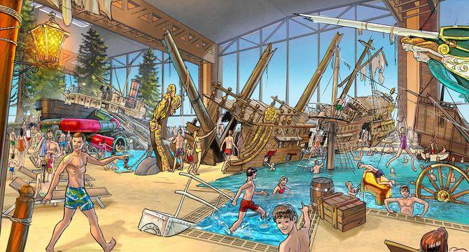"""Der Abenteuerspielplatz """"Skip Strand"""" mit versunkenen Dreimastern, samt einer Vielzahl an Netzen, Tauen und Masten. Bild: Europa-Park"""