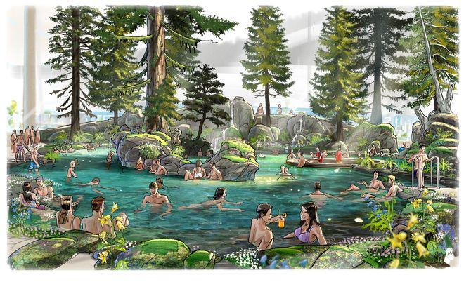 """Wasserfälle, Sprudelliegen und eine Poolbar, umrahmt von Kiefern und Felsen, machen die """"Skog Lagune"""" zu einer Oase der Ruhe. Bild: Europa-Park"""