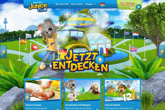 Europa-Park JUNIOR CLUB im Internet. Bild: Europa-Park
